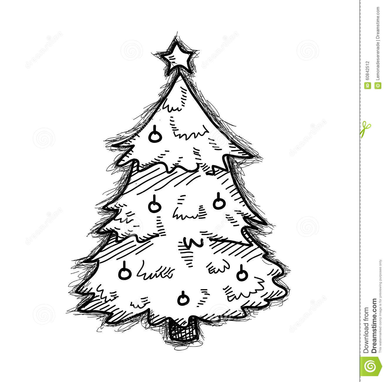 christmas tree doodle stock vector  illustration of doodle