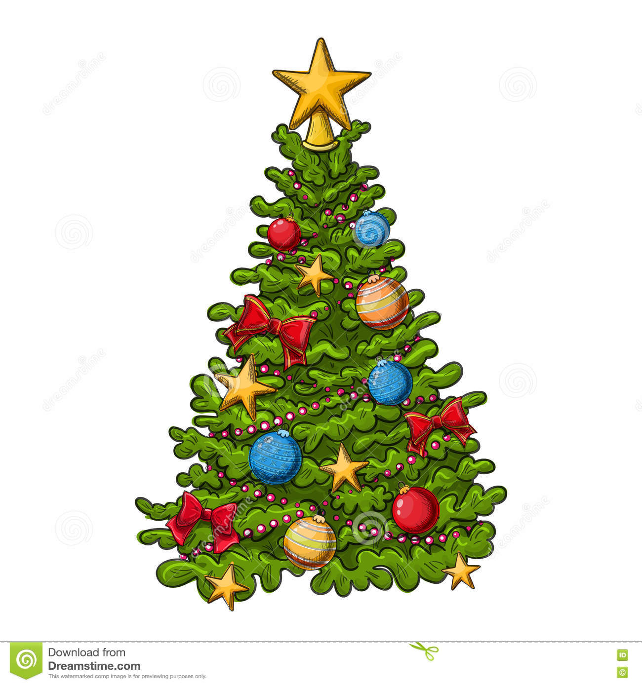Colorful Christmas Ornaments Drawings.Christmas Tree Drawing Stock Vector Illustration Of White