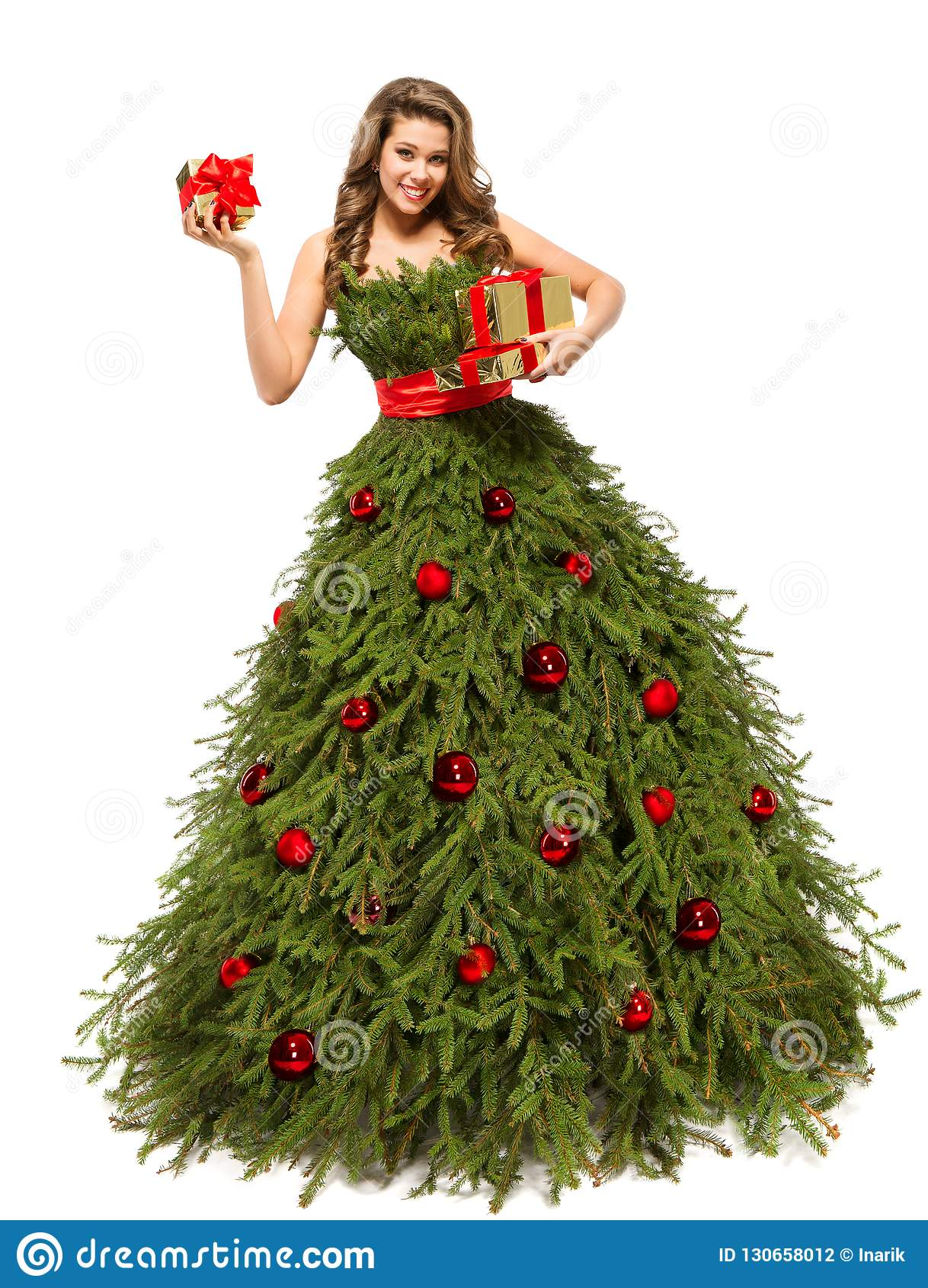Christmas Tree Dress, Fashion Woman with Present Gifts, White