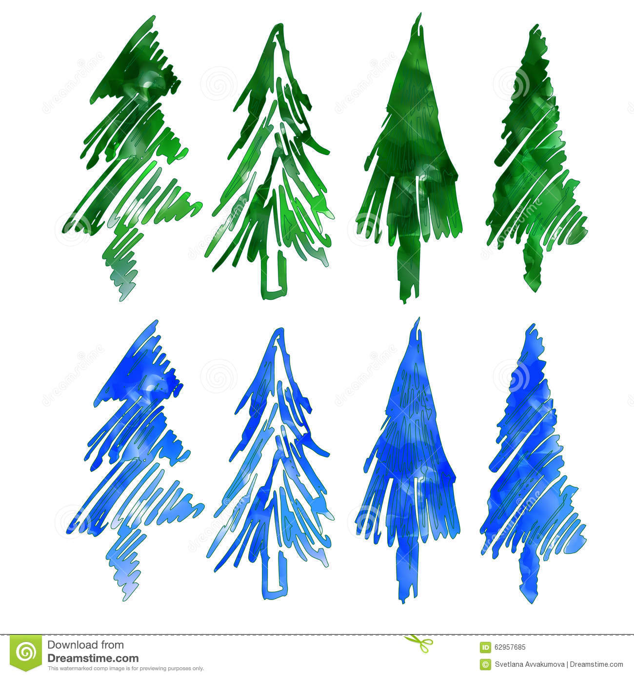 Blue And Green Christmas Tree: Christmas Tree. Eight Different Firs. Stock Vector