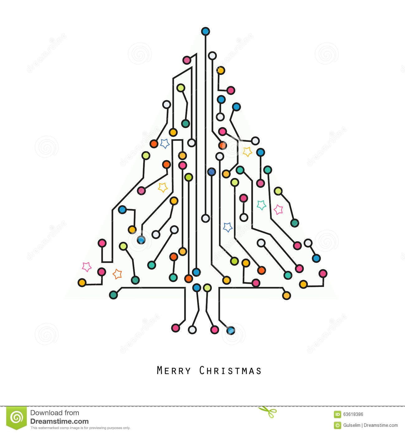 christmas tree electronic circuit board vector background stock vector
