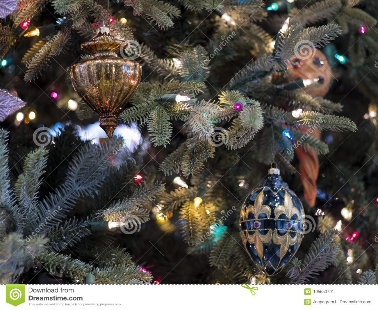 Christmas Tree And Elegant Ornaments Stock Image Image Of Field