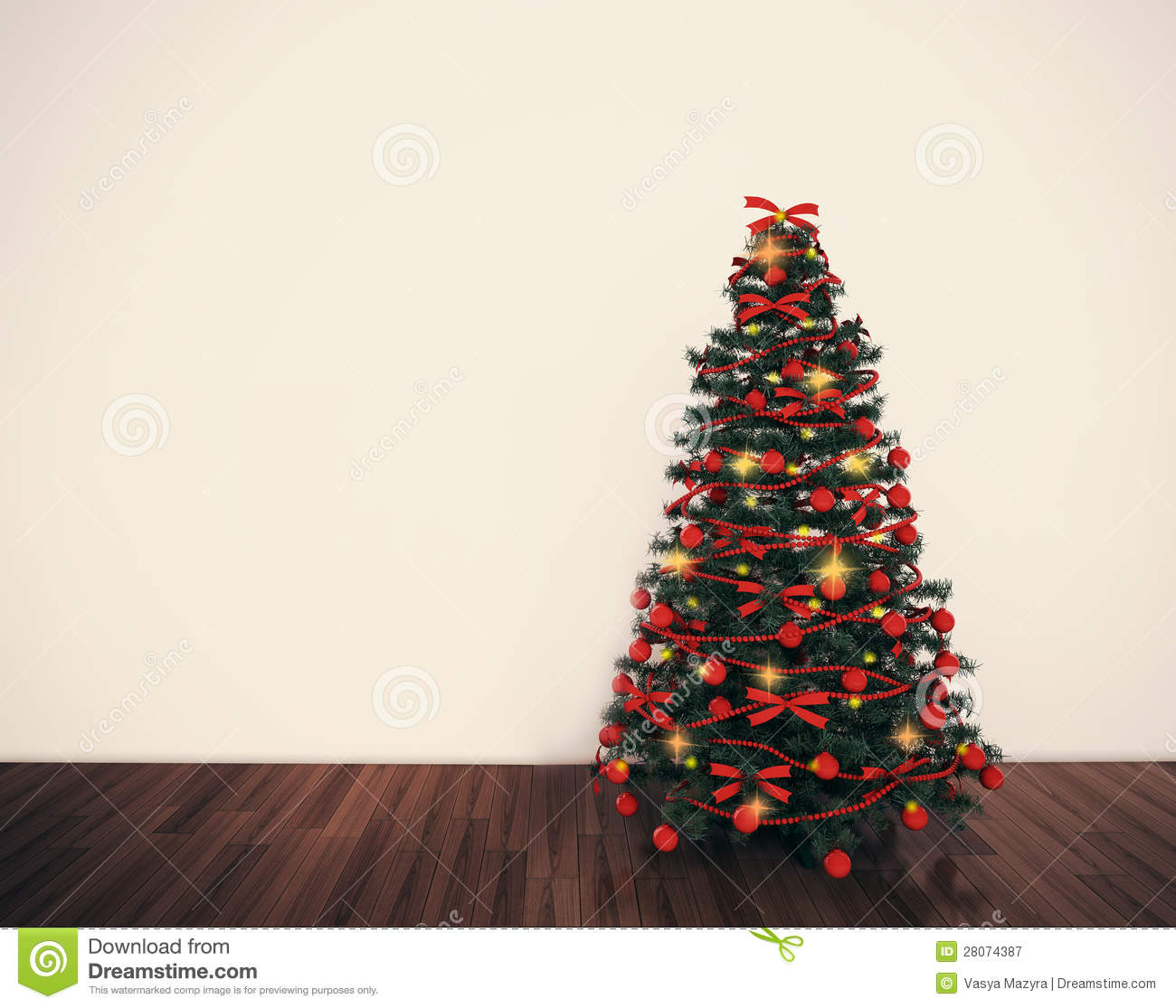 Christmas tree in empty living room royalty free stock photography image 28074387 for Christmas tree in living room photos