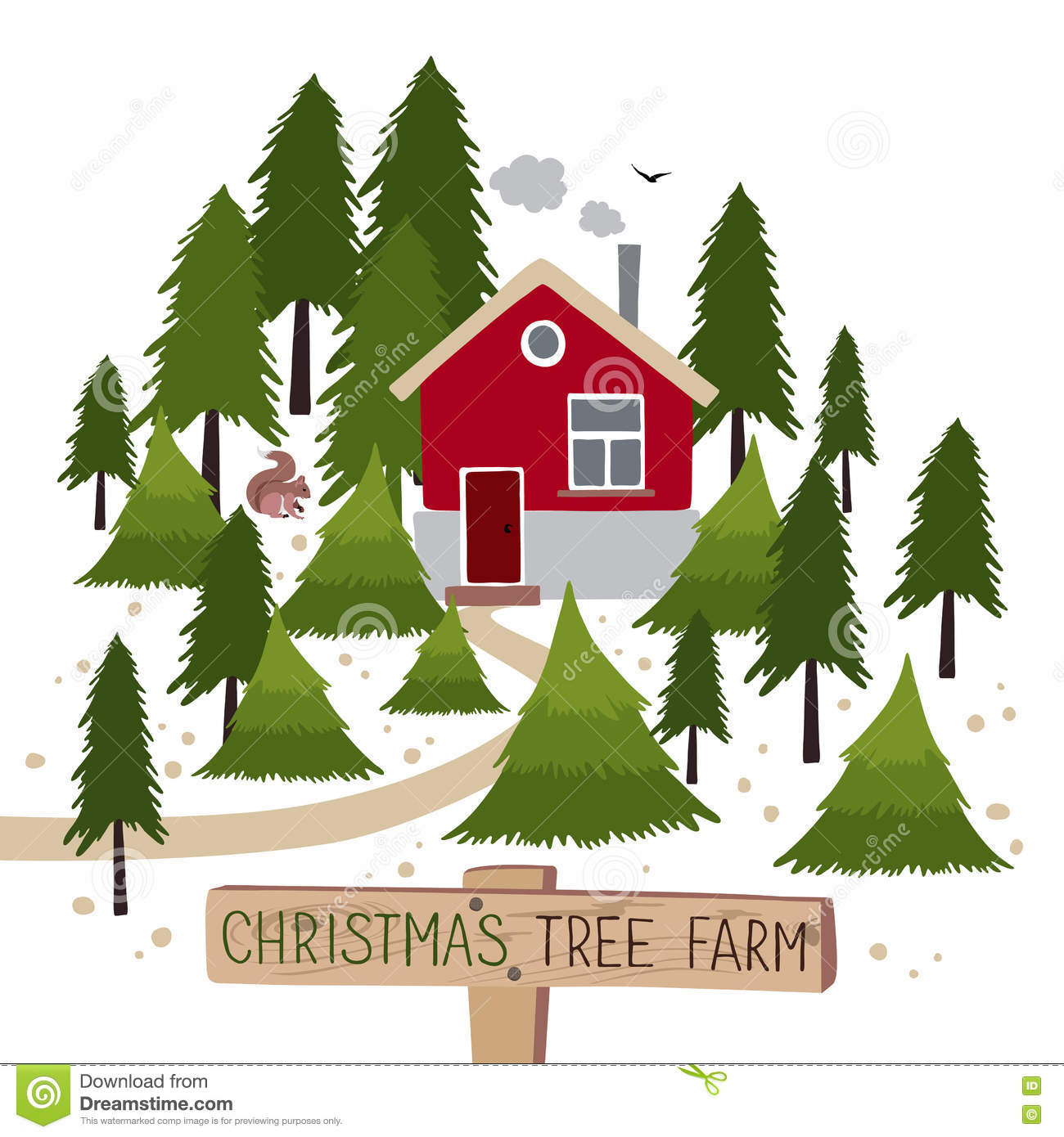 christmas tree farm vector illustration - Christmas Tree Farms For Sale