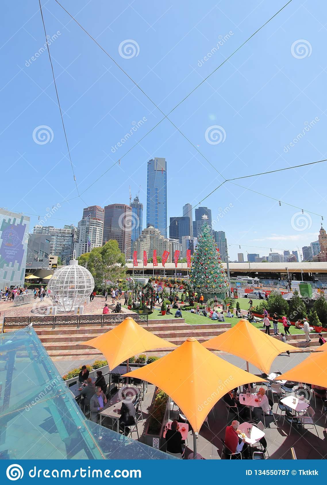 Christmas tree Federation Square cityscape Melbourne Australia