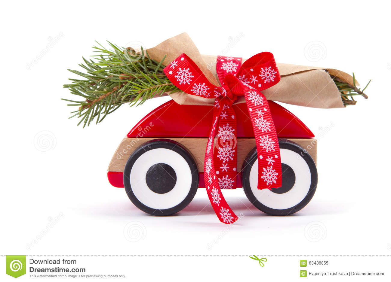 Christmas Tree Fir Branches On Toy Car. Stock Photo