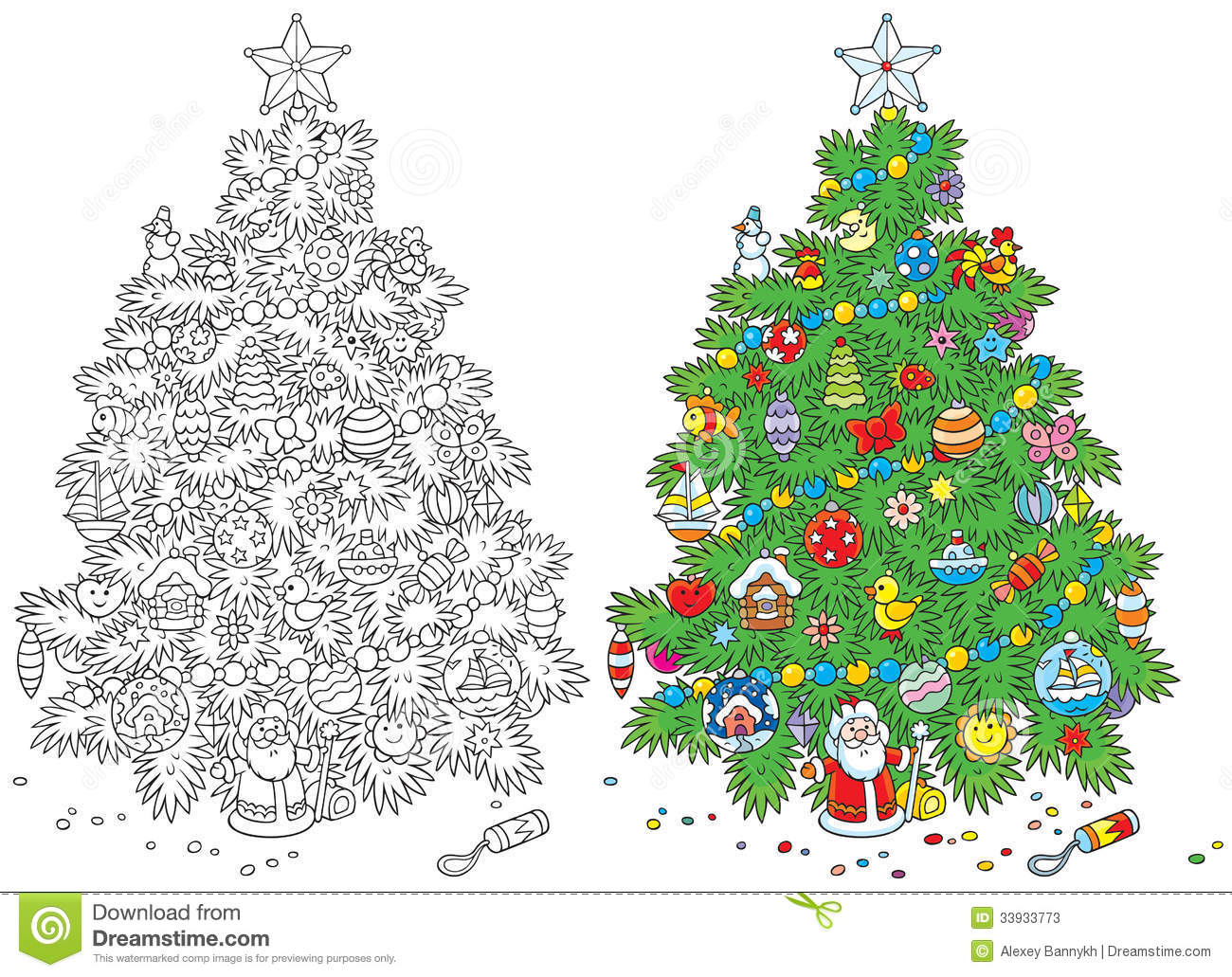 Christmas tree stock vector. Illustration of year, outline - 33933773