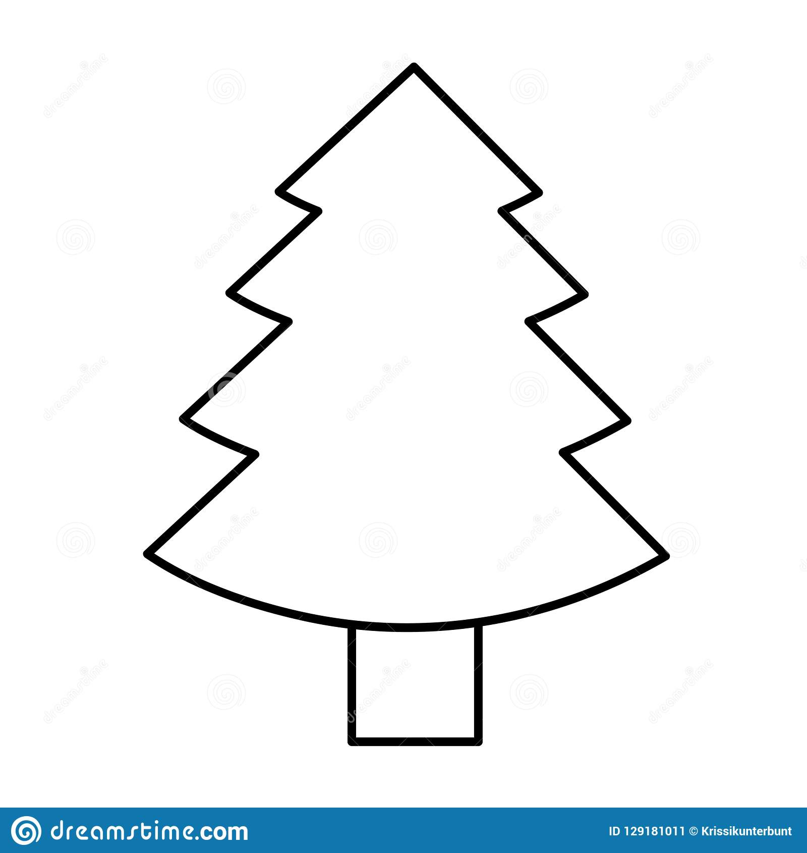 Christmas Tree Outline.Christmas Tree Fir Simple Icon Pictogram Outline Stock
