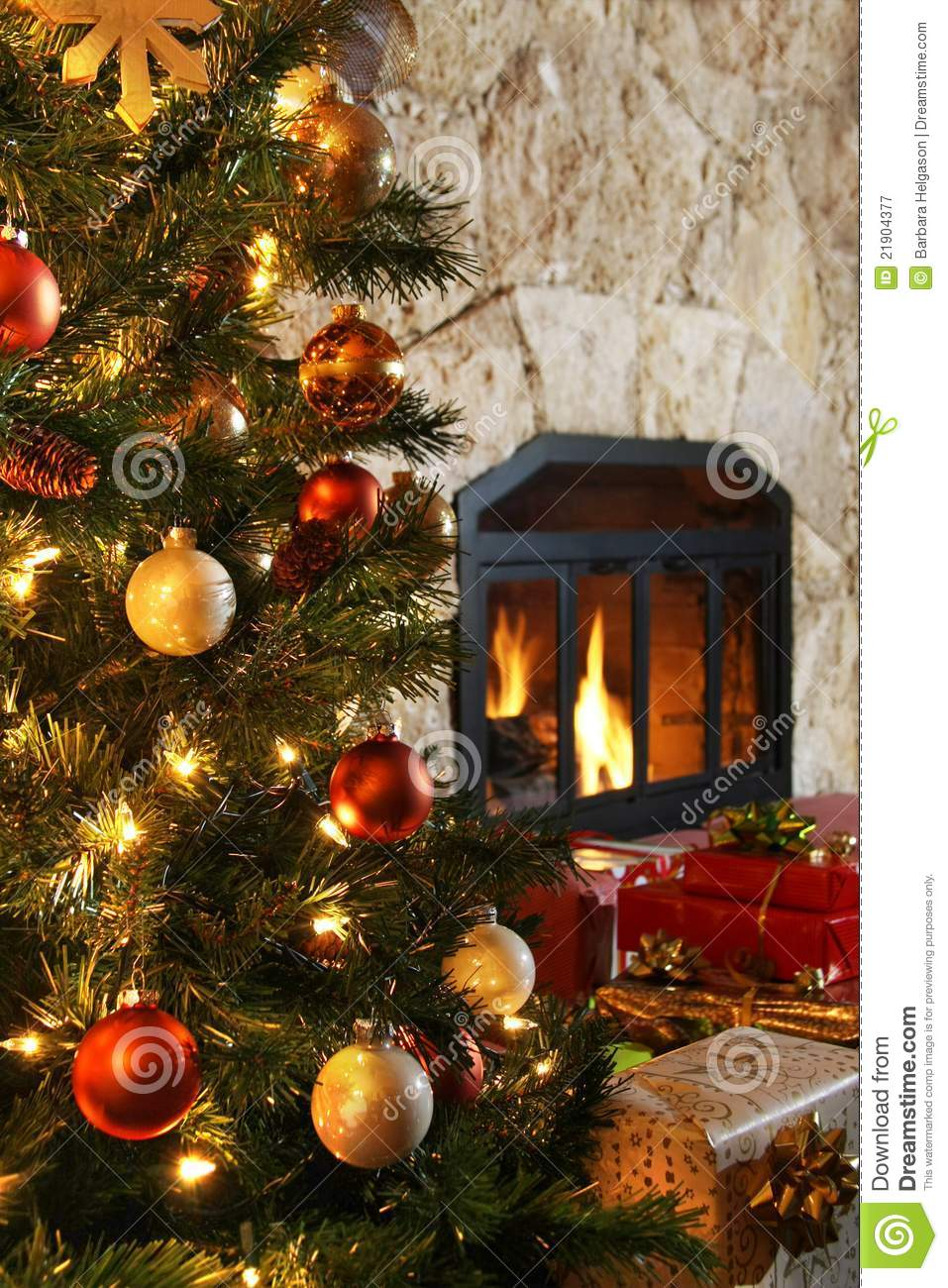 Christmas Tree And Fireplace Stock Image - Image of warm ...