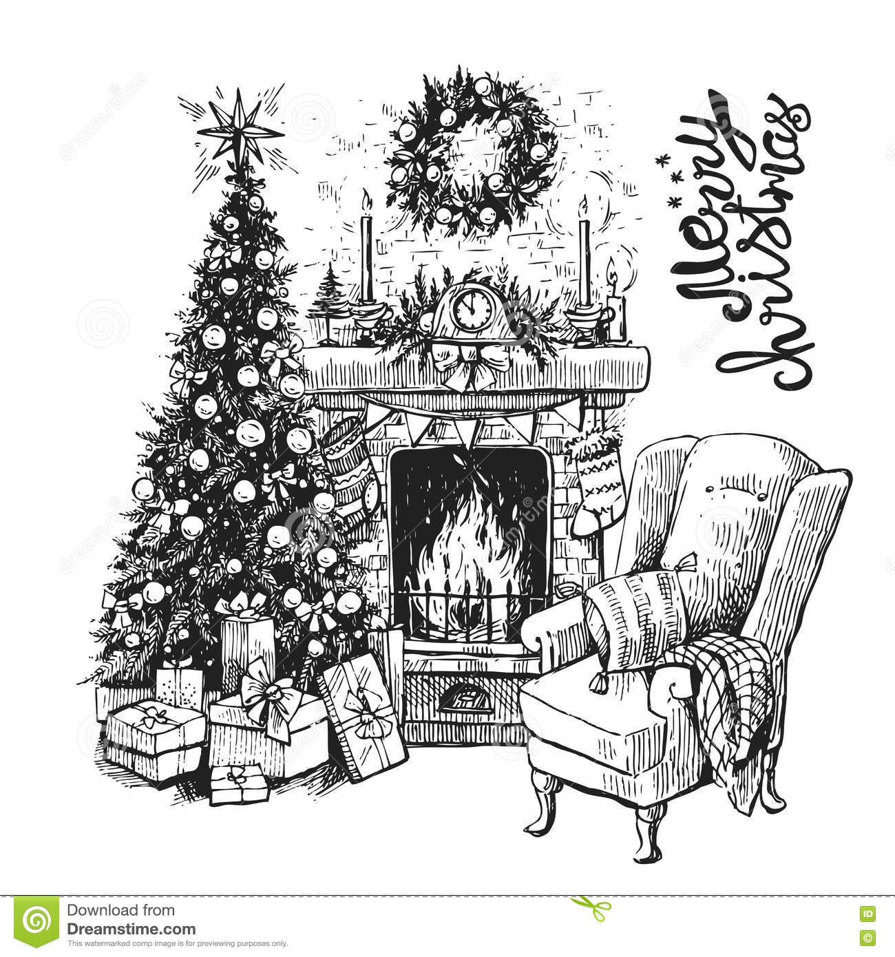 Christmas Tree And Fireplace Stock Vector , Illustration of