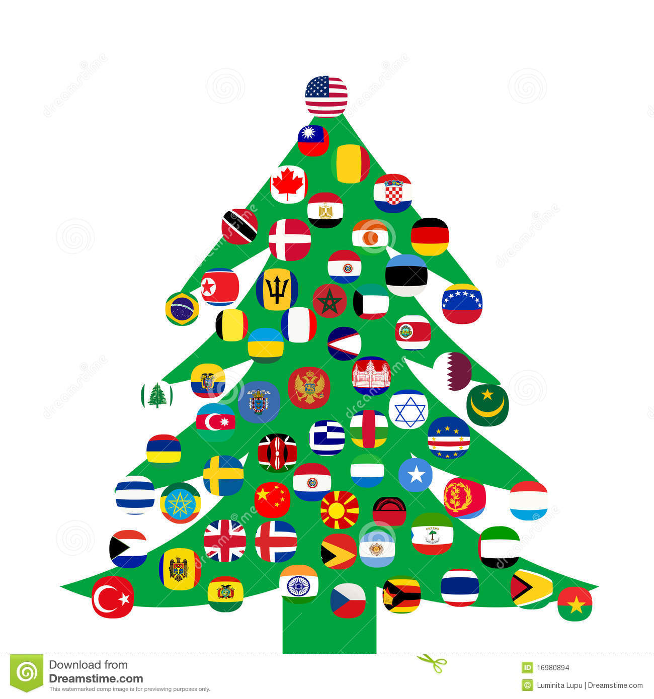 Christmas tree with flags stock illustration. Illustration of ball ... fb75aff3cae4