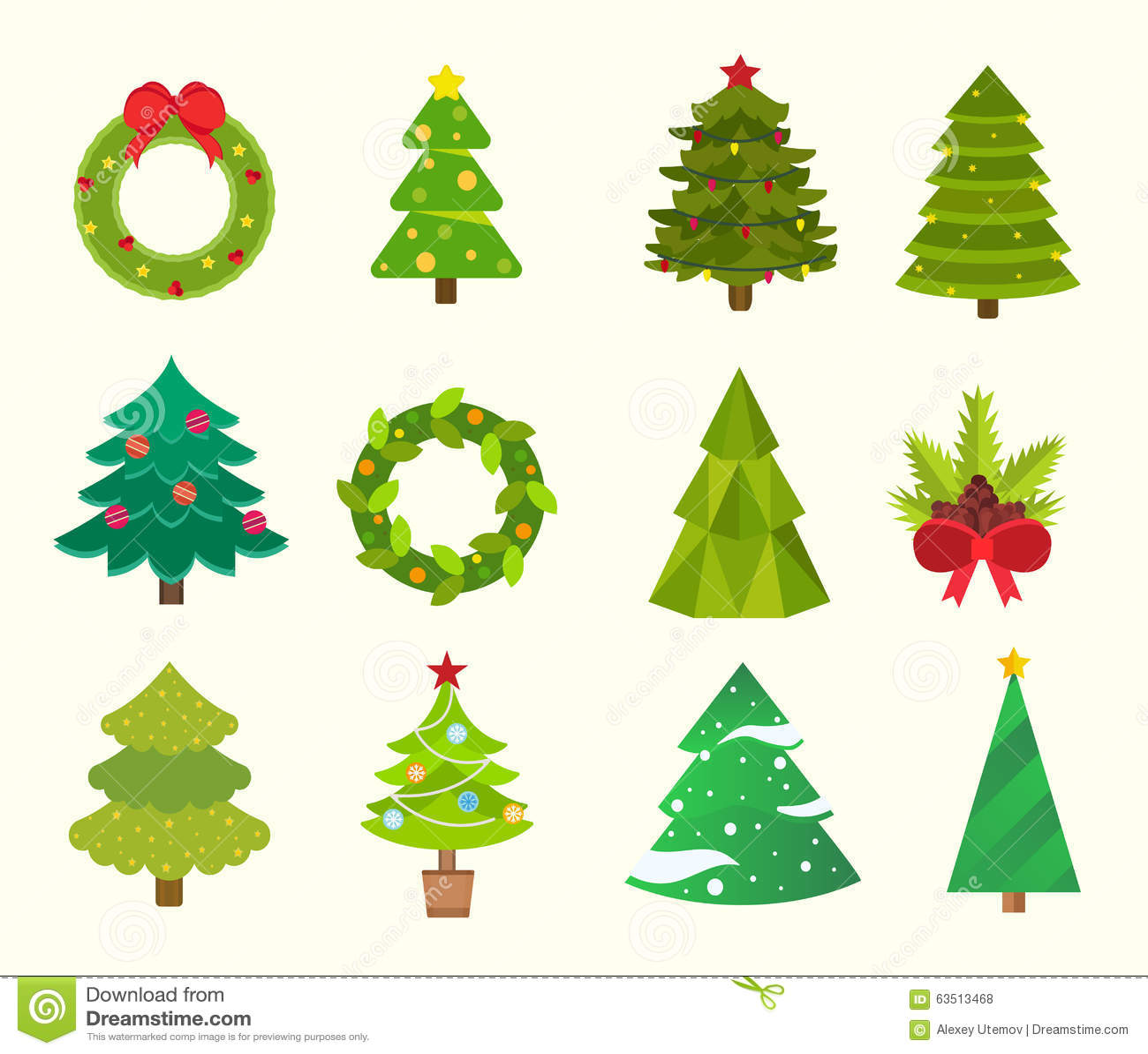 royalty free vector download christmas tree flat - Flat Christmas Tree