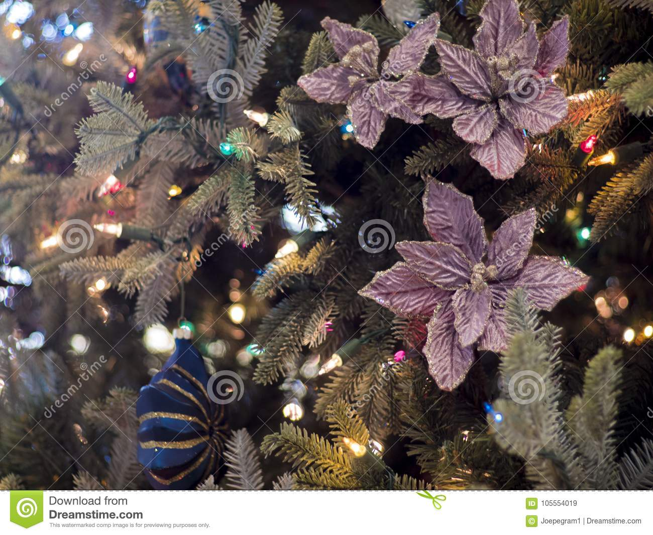 Christmas Tree With Flowers And Ornaments Stock Image Image Of
