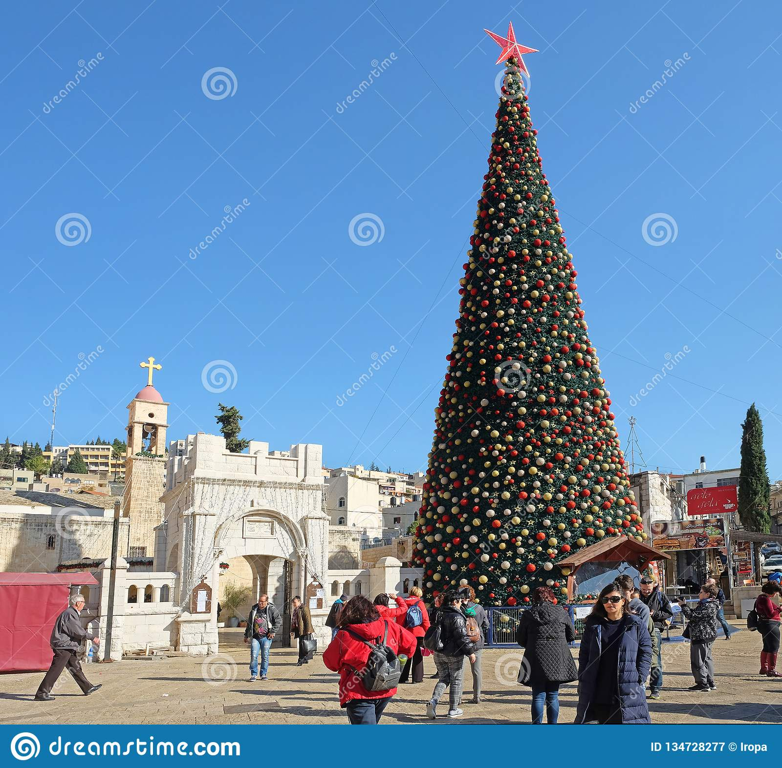 Greek Orthodox Christmas.Christmas Tree In Front Of The Greek Orthodox Church In