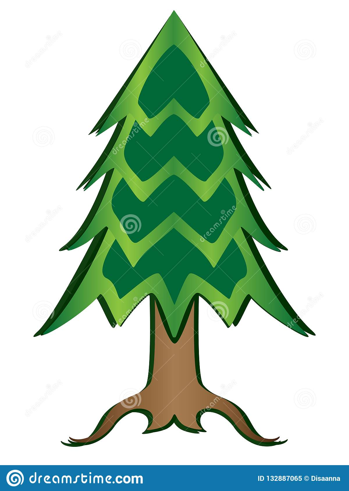 Christmas tree full color picture. Paper cut conifer tree vector illustration with gradient.