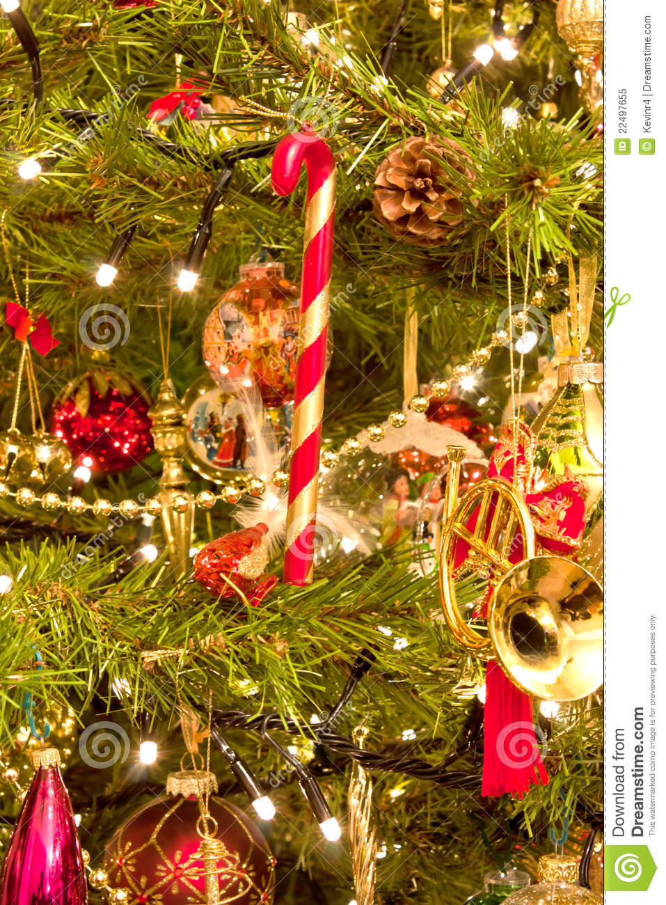 A Christmas Tree Full Of Decorations Royalty Free Stock