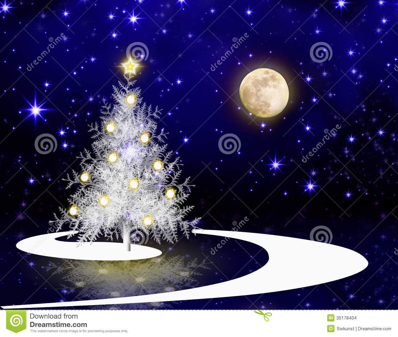 Christmas Tree And Full Moon. Stock Images - Image: 35178404