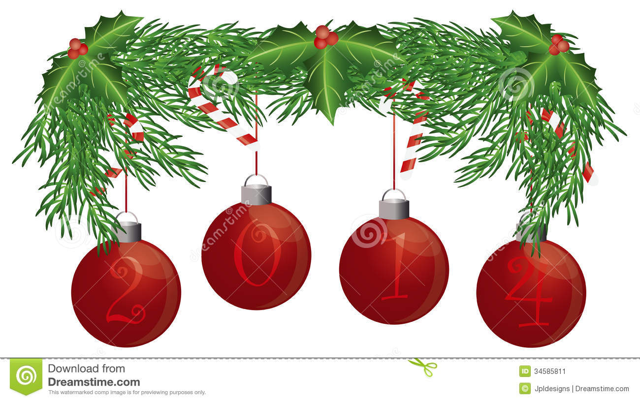 Christmas Tree Garland With 2014 Ornaments Isolate Stock