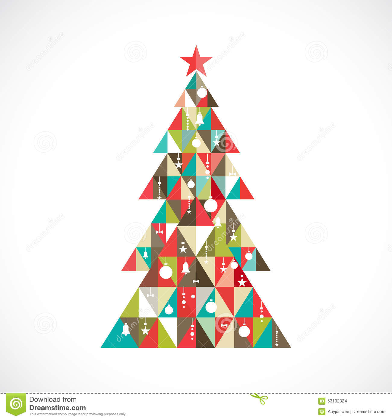 Christmas tree with geometric graphic decorate vector