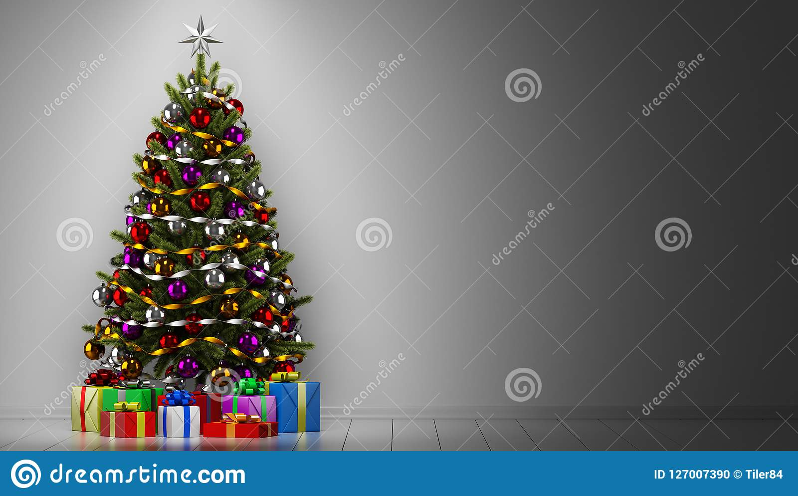 Christmas tree with gift boxes in dark room