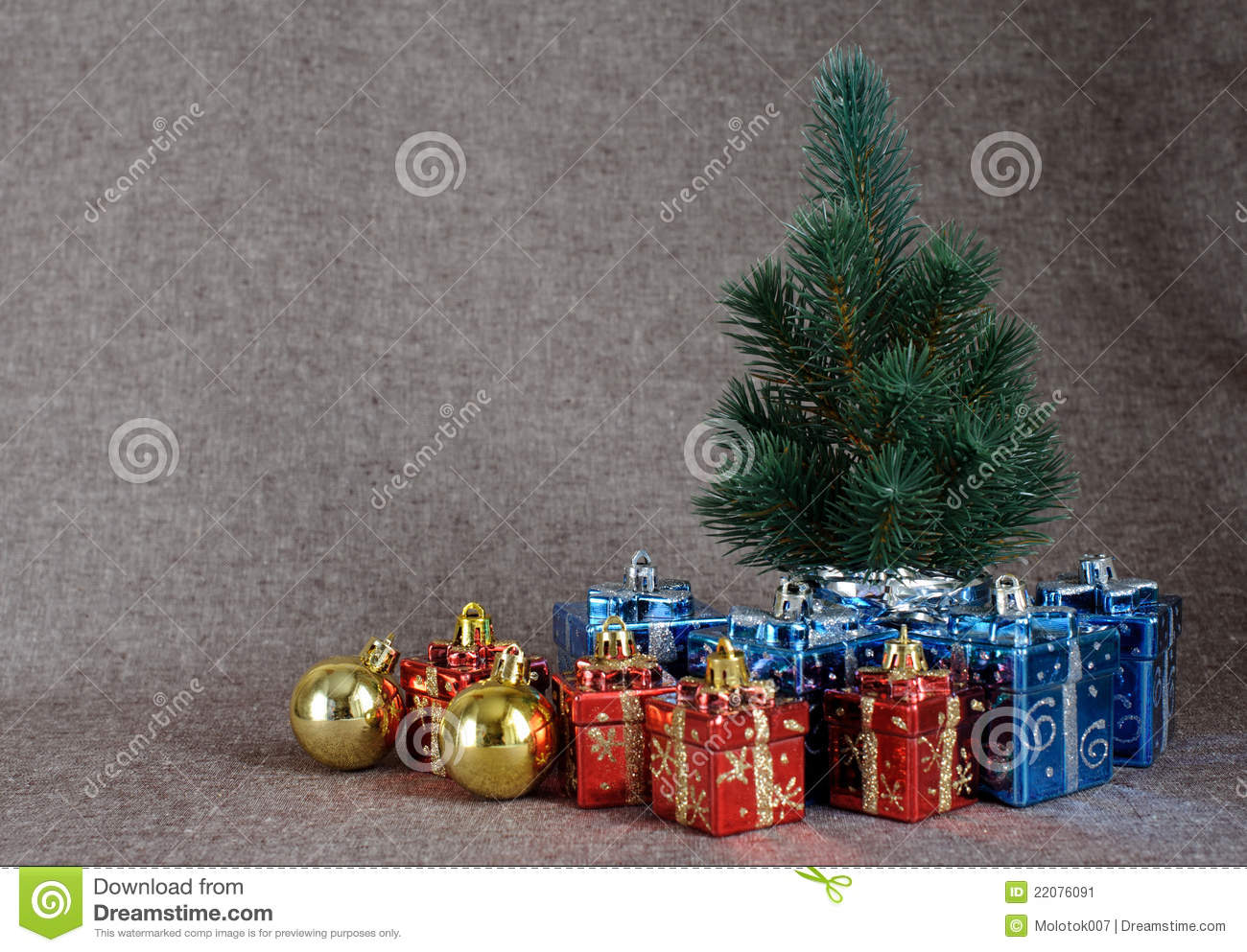 Christmas tree and gifts stock image image 22076091 for Red and yellow christmas tree