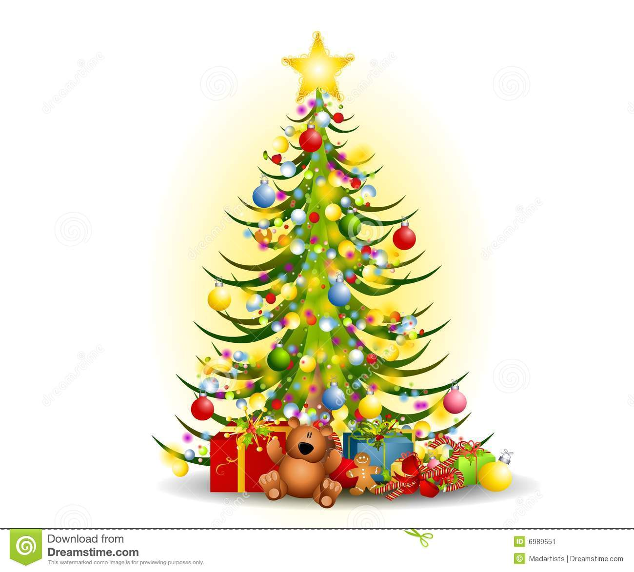 Christmas Tree Art.Christmas Tree Gifts Clip Art Stock Illustration