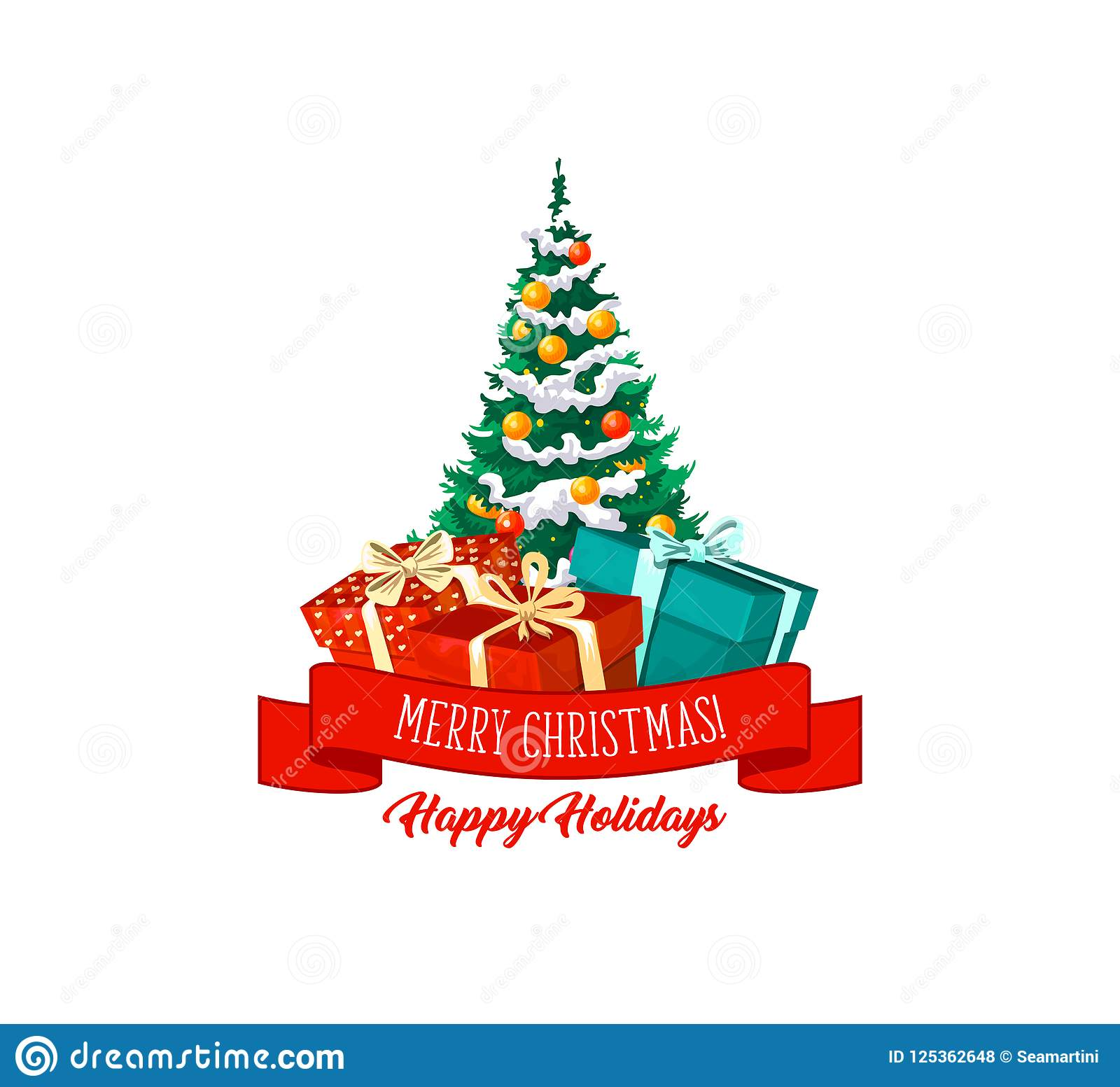 download christmas tree gifts and decorations vector icon stock vector illustration of holly seasonal