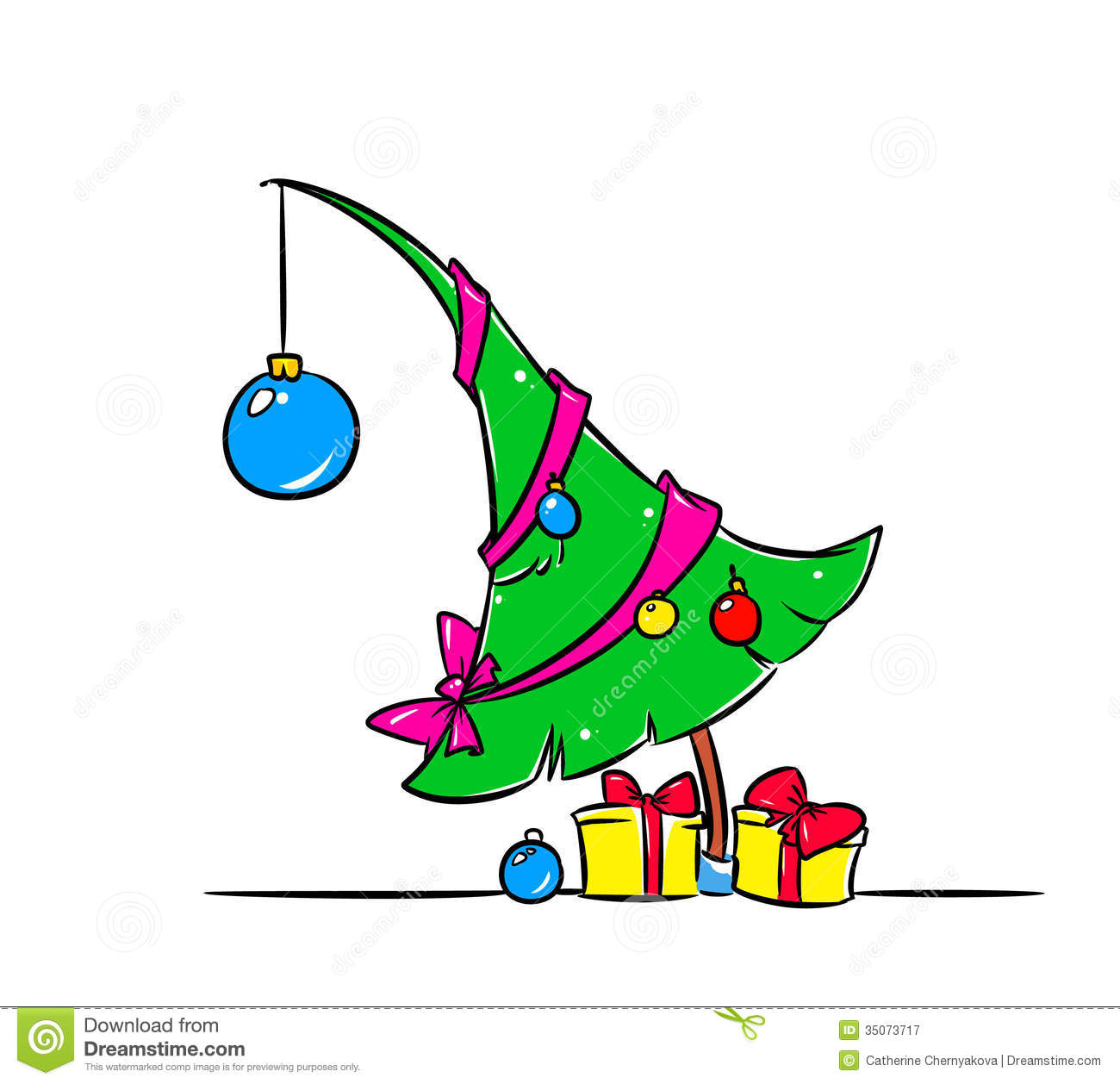 Christmas Toys Cartoon : Christmas tree gifts illustration stock
