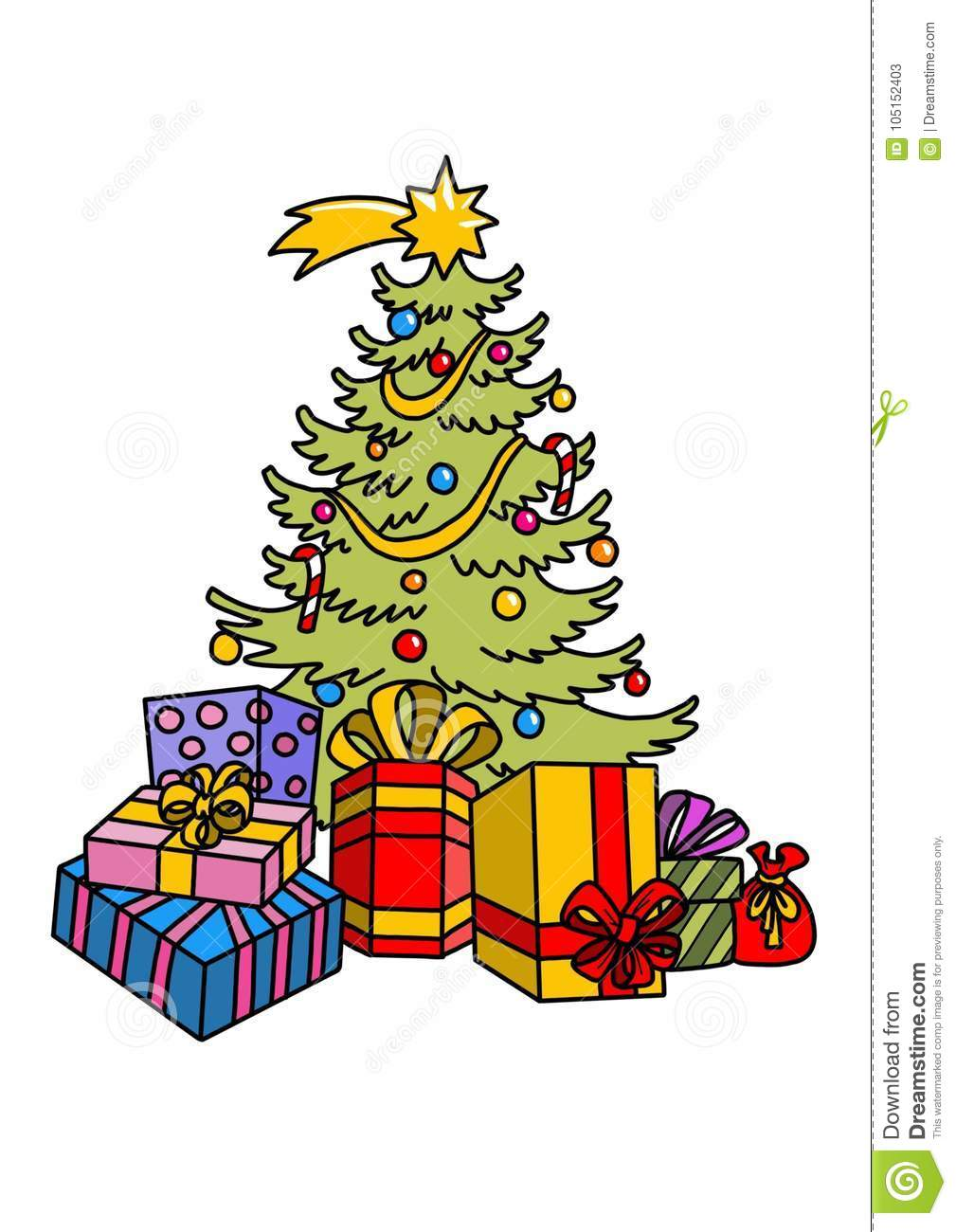 Christmas Tree With Gifts And Ornaments Stock Illustration ...