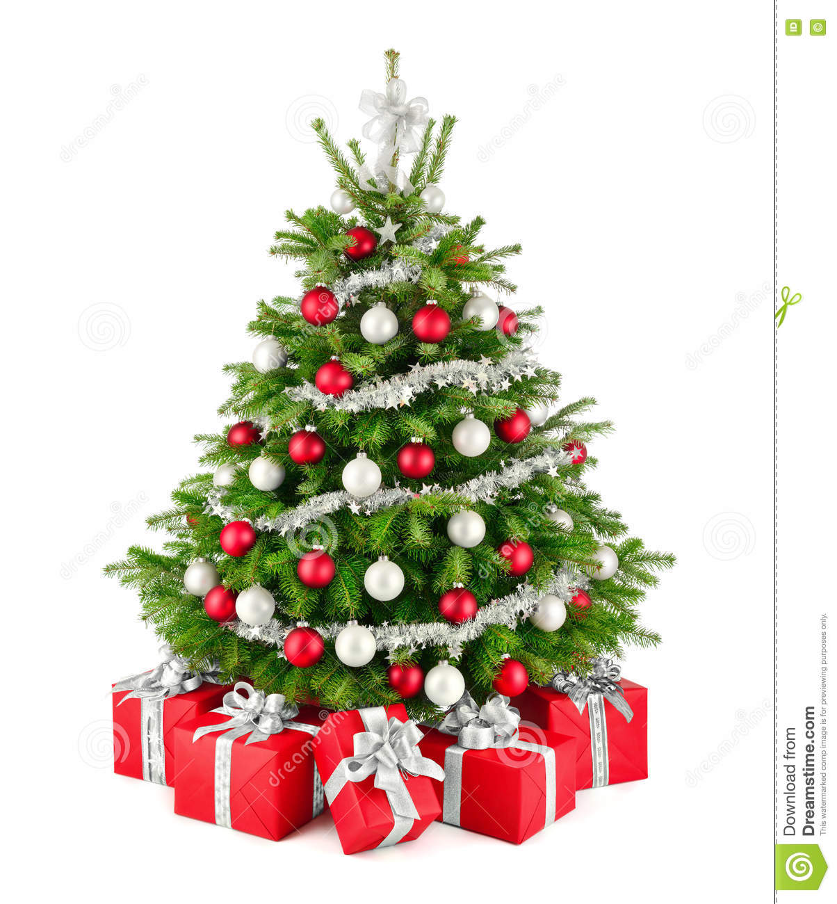 christmas tree and gifts in red white and silver