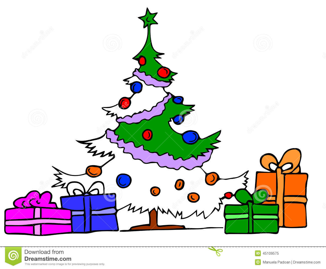 Christmas Tree With Gifts Stock Vector Illustration Of Holiday