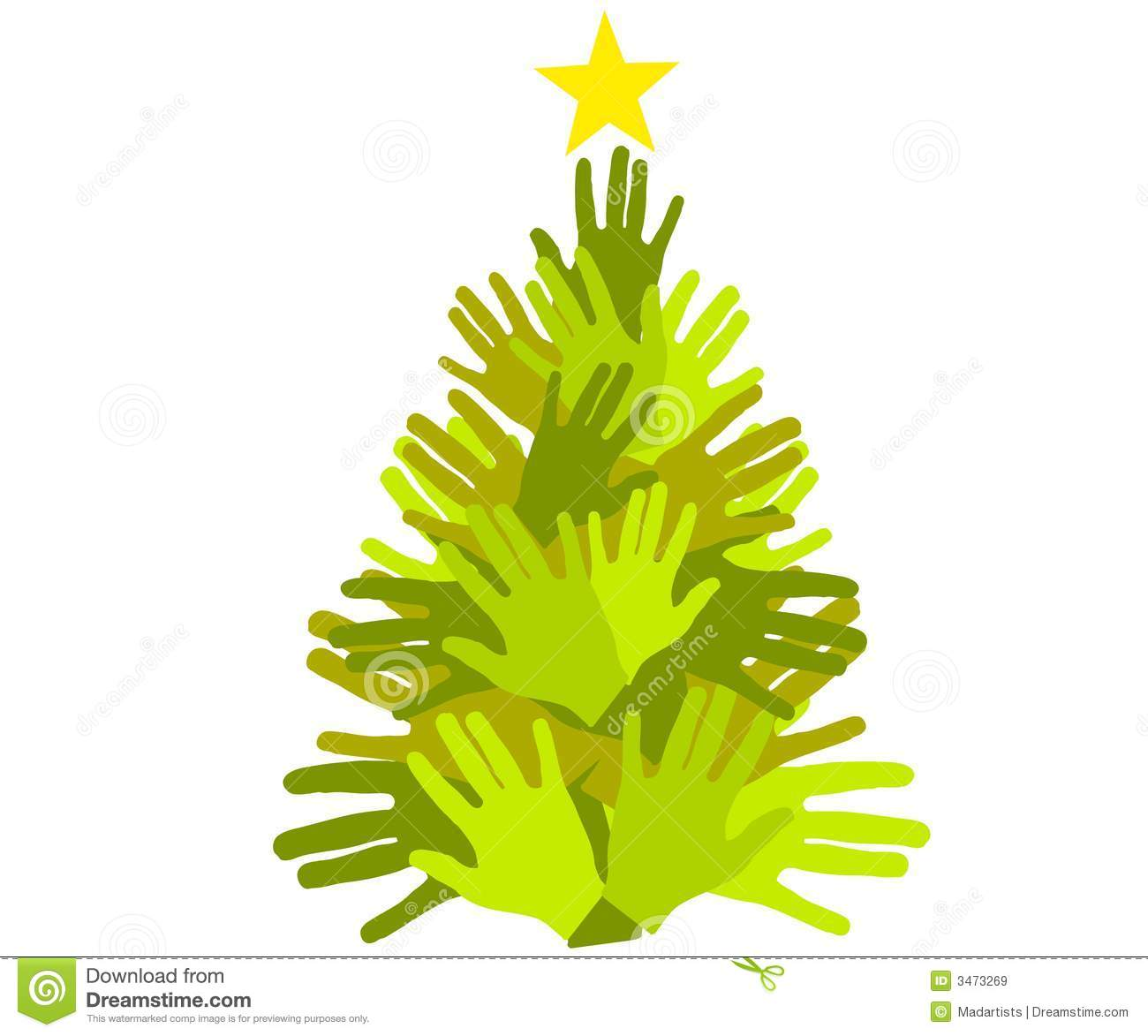 Christmas Giving Clipart.Christmas Tree Giving Hands Stock Illustration