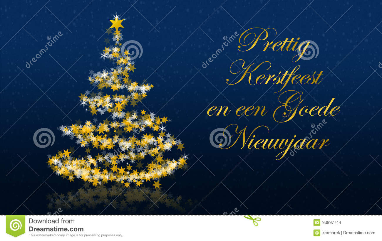 Christmas tree with glittering stars on blue background dutch christmas tree with glittering stars on blue background dutch seasons greetings kristyandbryce Choice Image