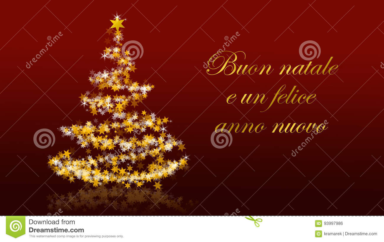 Christmas tree with glittering stars on red background italian christmas tree with glittering stars on red background italian seasons greetings royalty free illustration kristyandbryce Image collections