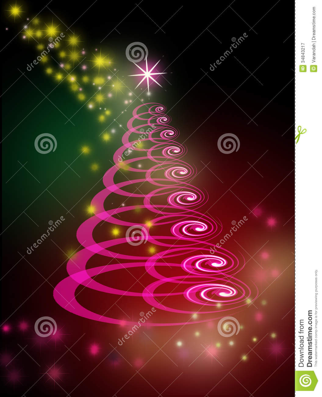 Christmas tree on glowing green and pink background royalty free stock