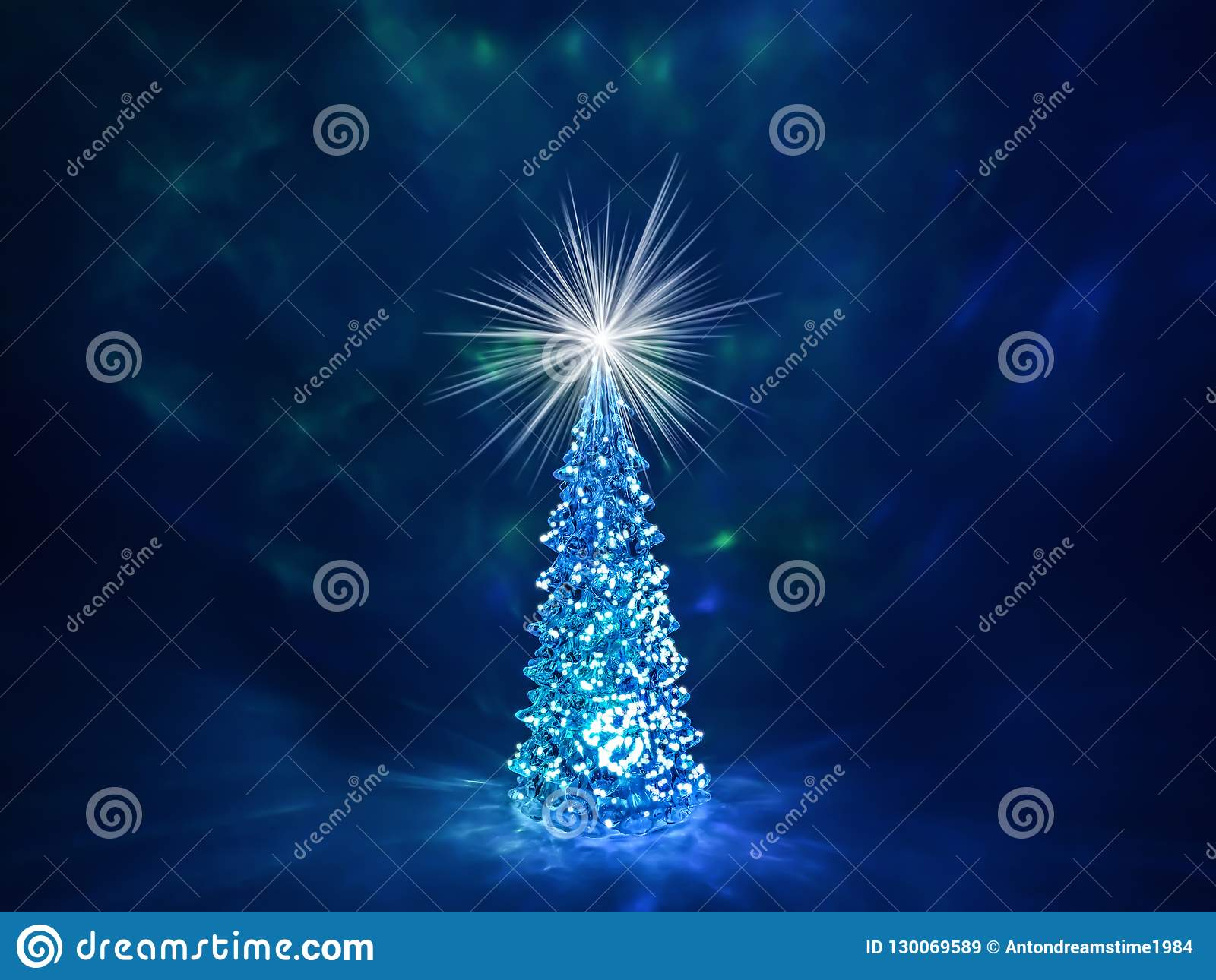 Christmas Tree With Glowing Lights On A Garland And A Shining Star