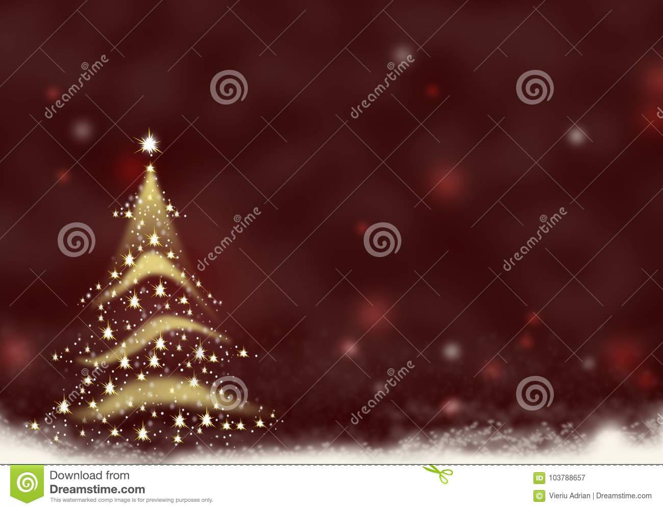 Free Illustration Background Christmas Red Gold: Christmas Tree Gold Formed From Stars Background Red Text