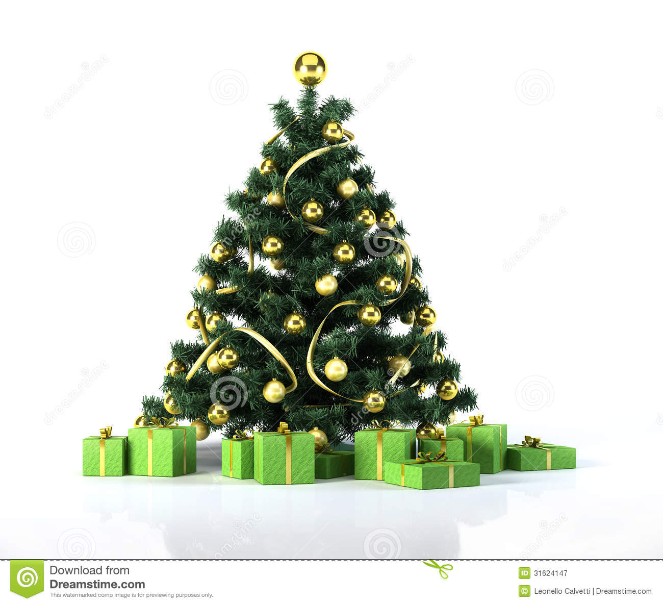 Christmas Tree With Golden Balls, Decoration And Green Gifts ...