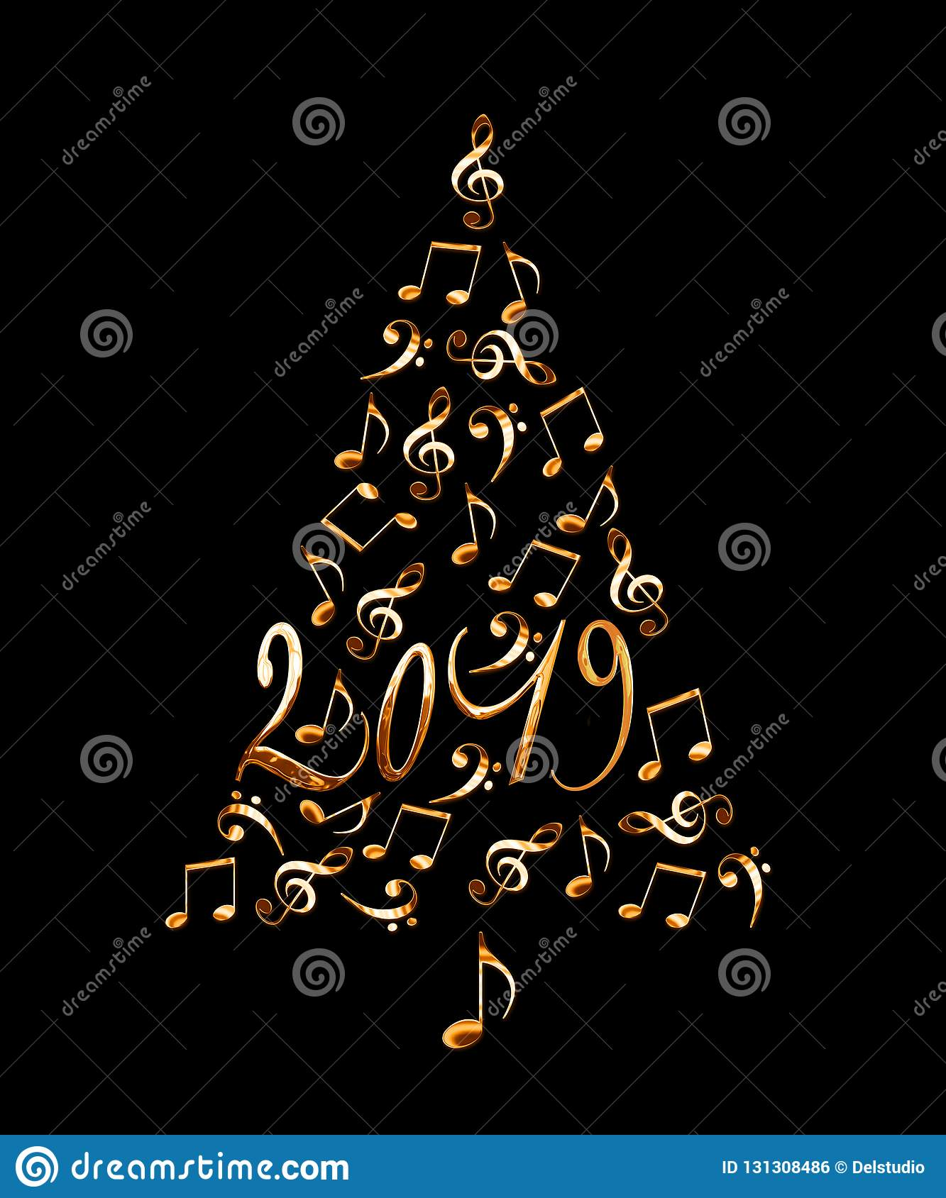 Christmas Musicals 2019 2019 Christmas Tree With Golden Metal Musical Notes Isolated On