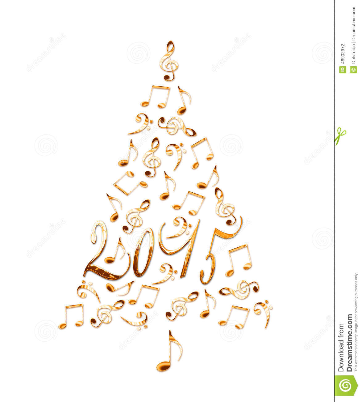 download 2015 christmas tree with golden metal musical notes stock photo image of signs - Metal Christmas Music