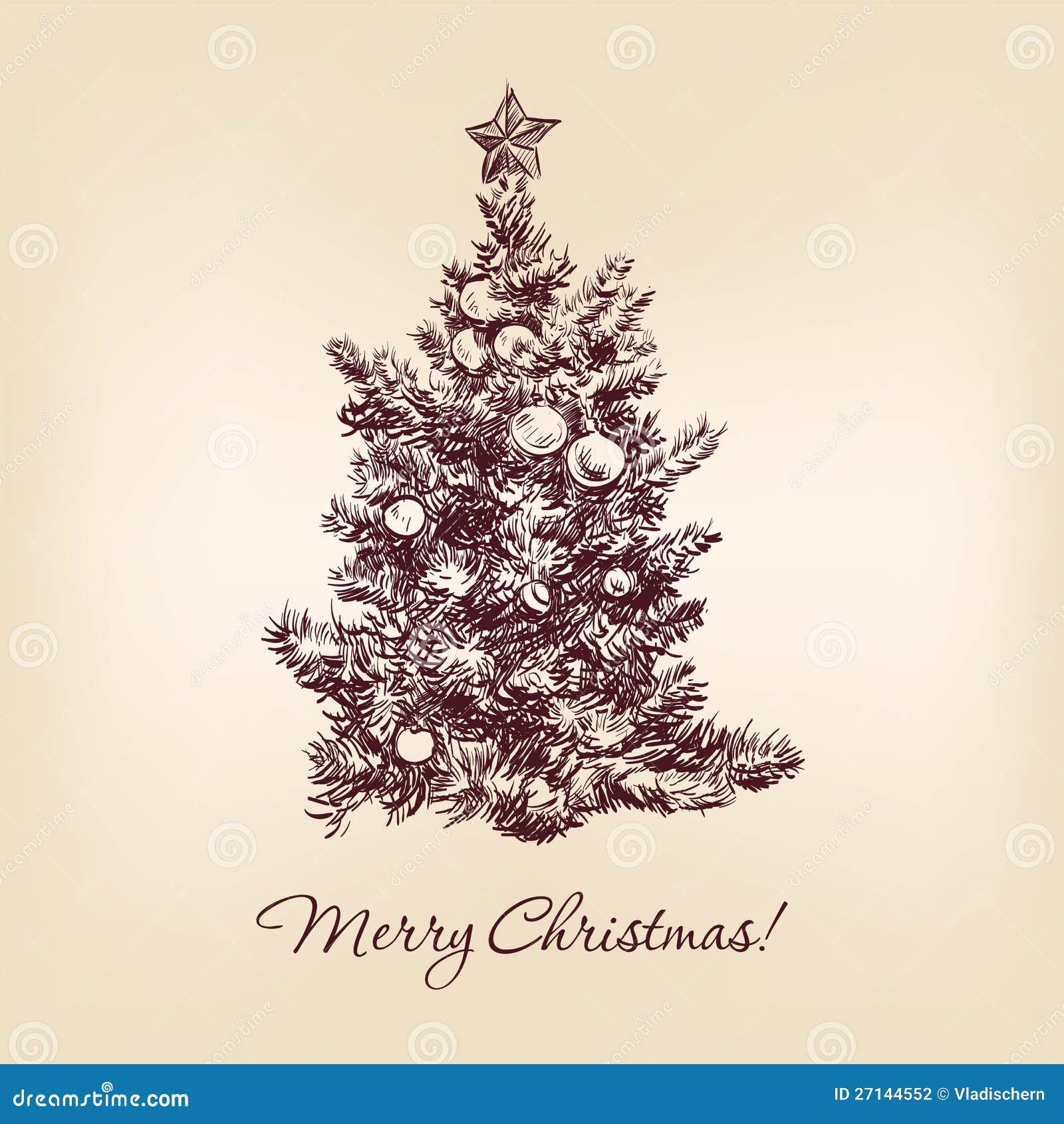 Realistic christmas tree drawing - Christmas Tree Drawing Realistic