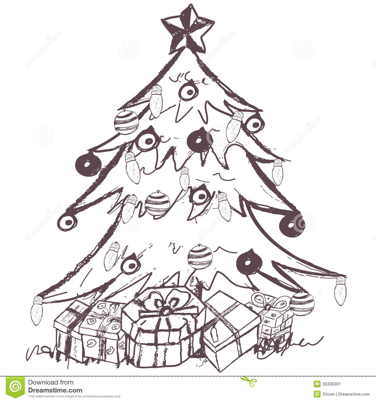 Realistic christmas tree drawing - Hand Drawn Doodle Sketch Of A Christmas Tree With Presents