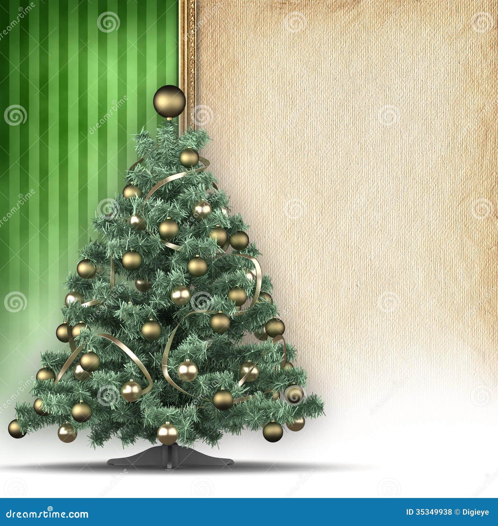 christmas tree and handmade paper sheet stock illustration