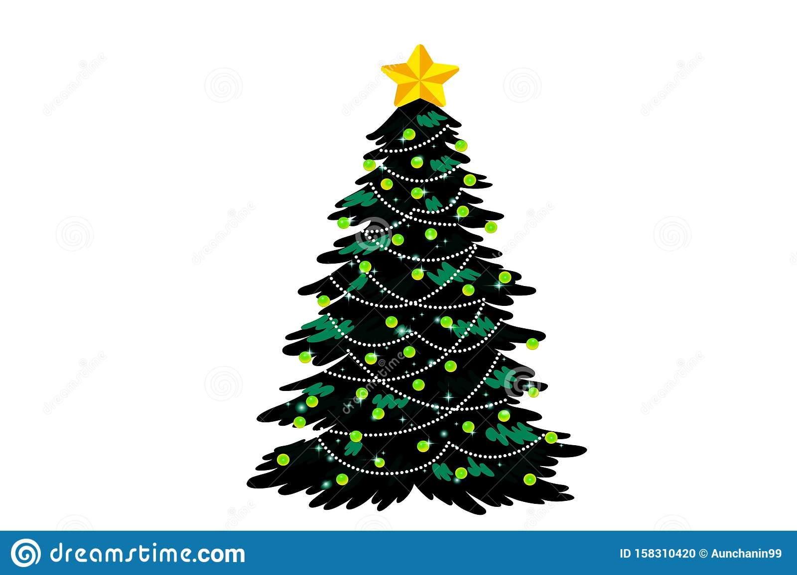 Christmas tree with hanging balls isolated on white background.