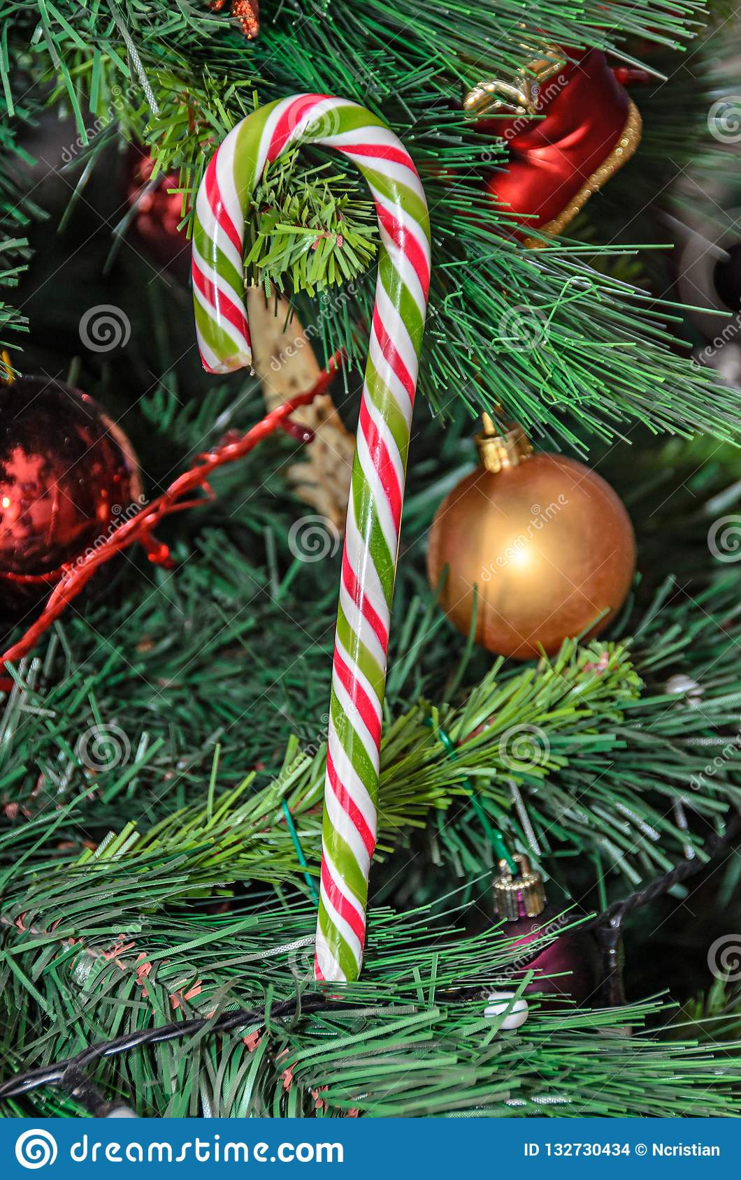 Christmas Tree Hanging Ornament Colored Lollipop Close Up Stock