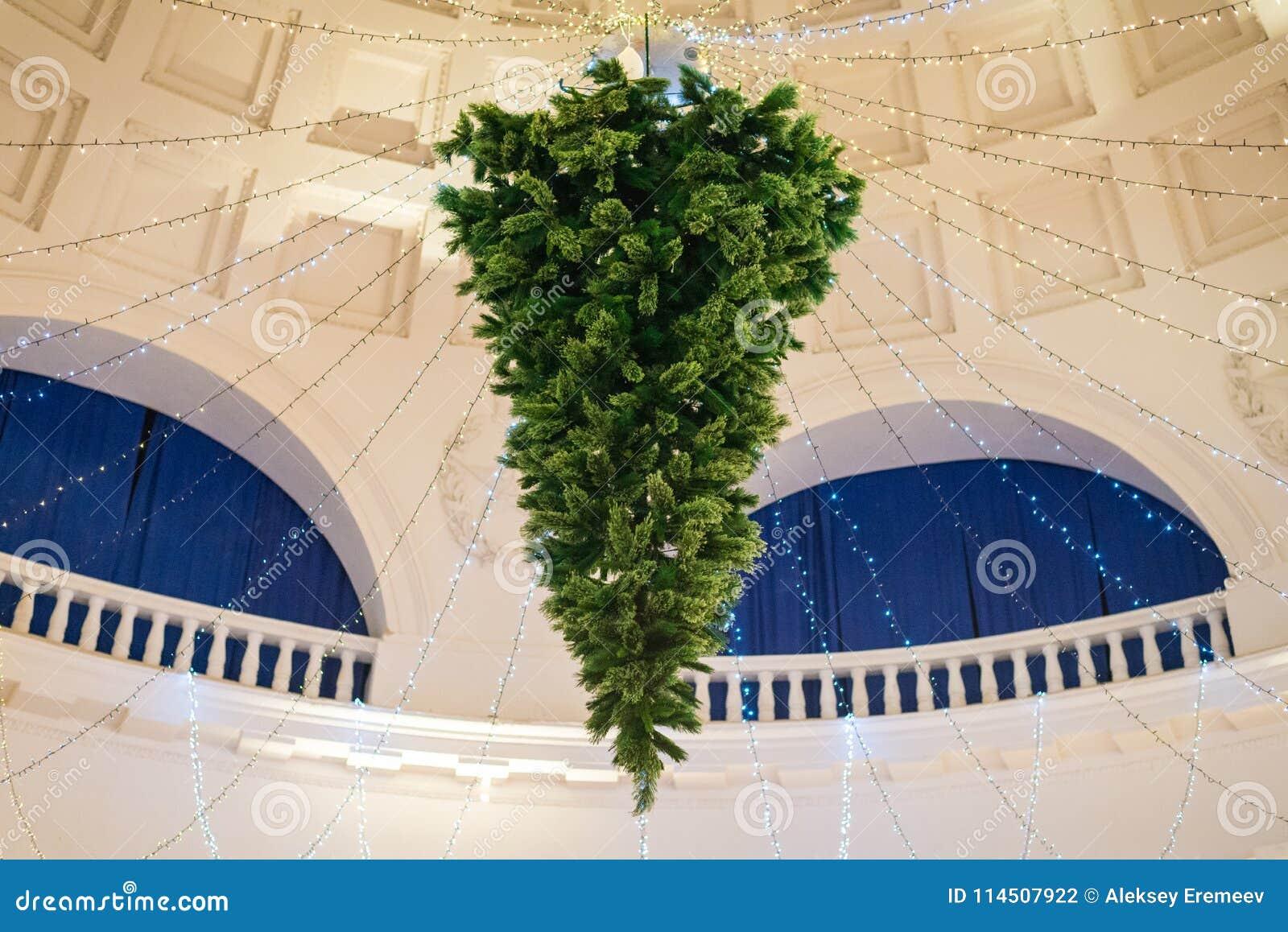 Upside Down Christmas Tree Ceiling.Christmas Tree Hanging Upside Down On The Ceiling Stock
