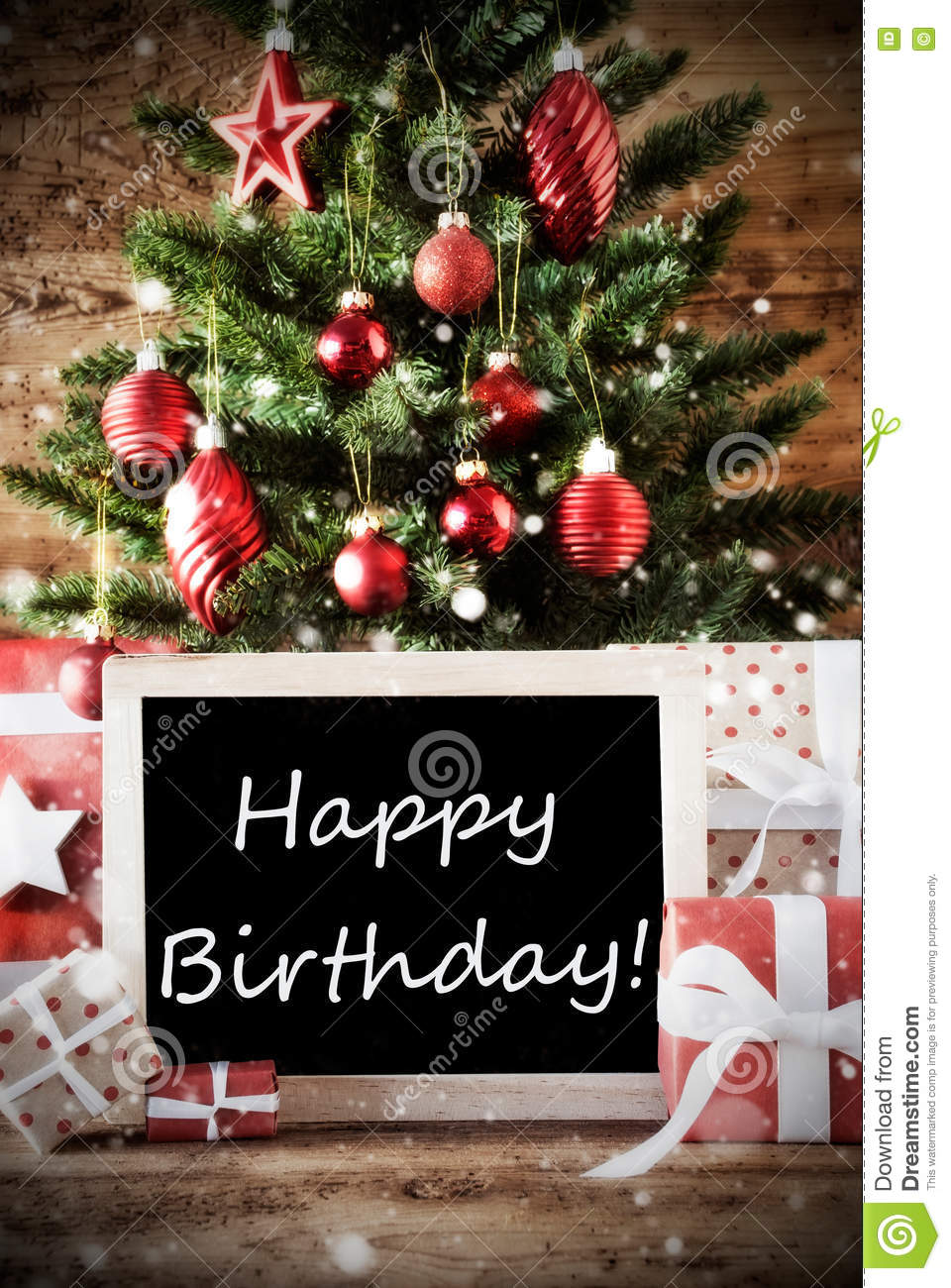 Christmas Tree With Happy Birthday Stock Photo Image Of