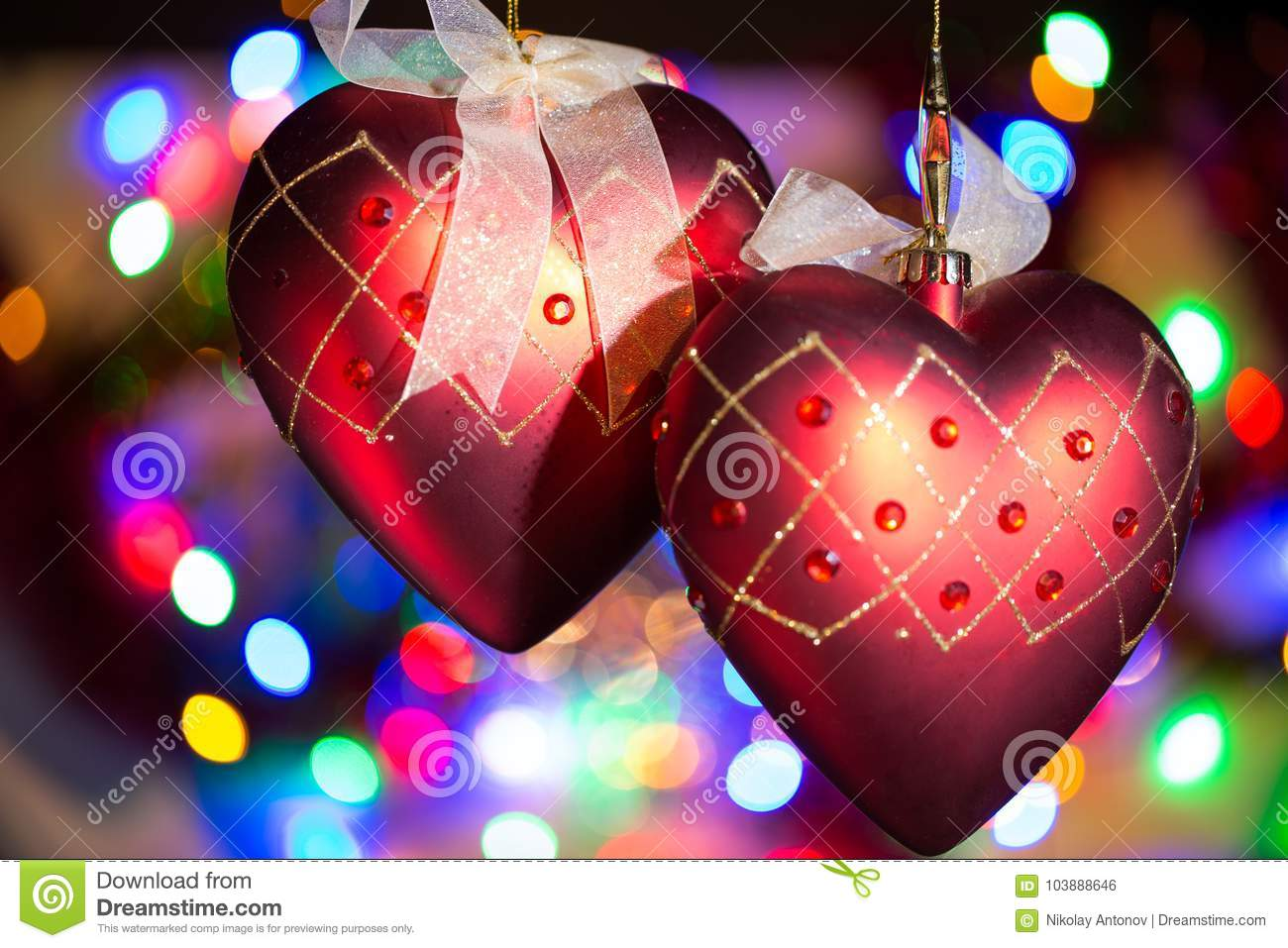 Christmas Tree Heart Decorations Against Nice Lights Background