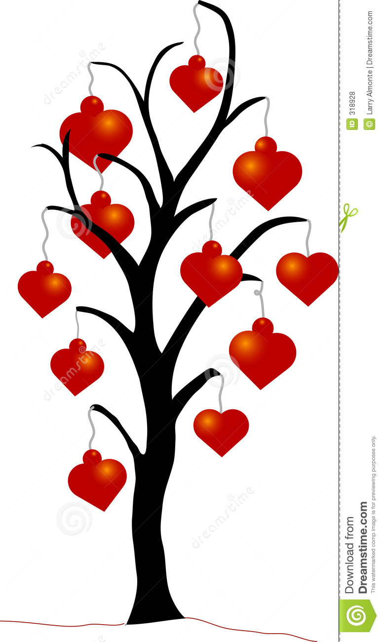 christmas tree with heart ornaments stock vector image