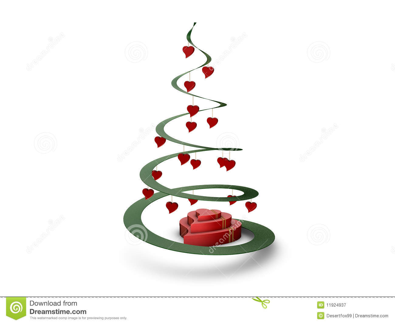 Christmas Tree With Hearts Royalty Free Stock Photography
